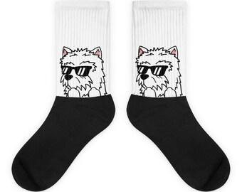 Sunglasses Westie Socks, Cute Westie Gift, Funny West Highland White Terrier Dog Socks