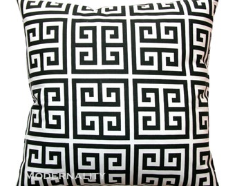 Greek Key Pillows, Black and White Towers Pillow Cover, Zippered Pillow, Black Cushion Cover, Black Pillow Case, Contemporary Home Decor