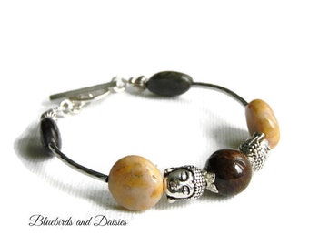 Buddha Bracelet, Yoga Bracelet, Meditation Gifts, Mindfulness Gifts, Spiritual Gifts, Earth Toned Bracelet, Buddha Jewelry ,Gifts for Her