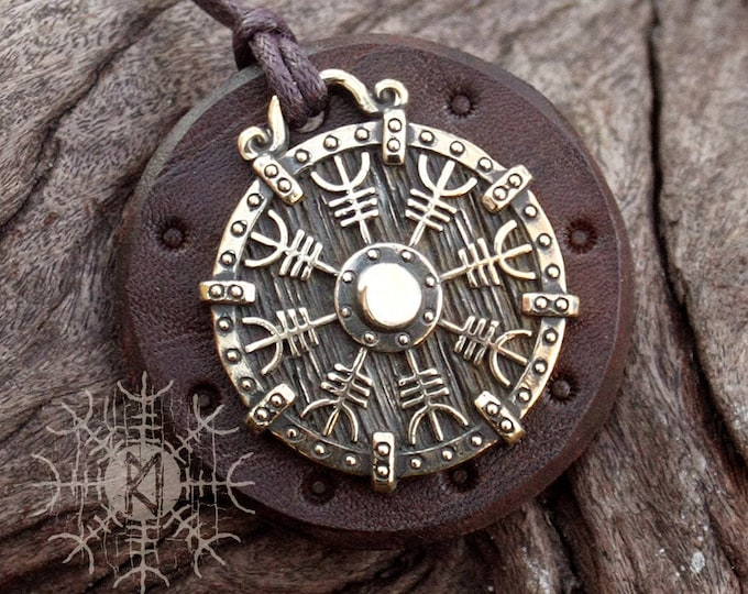 NEW ITEM! ~ Bronze Helm of Awe Aegishjálmur Vikings Icelandic Amulet Nordic Runic Pendant Talisman Necklace