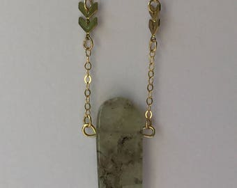 Prehenite long layering necklace