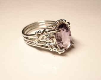Ring with amethyst cubic zirconia, sterling silver ring, unique ring, ring for women, beautiful ring, silver ring, cool ring