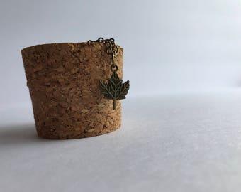 Antique Brass Leaf Charm Necklace, Fall Leaf Necklace, Leaf Charm Necklace
