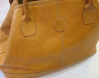 Vintage Club Monaco Caramel Tan Saddle Leather Satchel Handbag