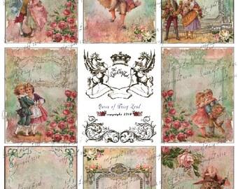 Digital Collage Sheet, Victorian Children, cards, tags, Scrapbooking, Vintage Printable, Digital Paper, Marie Antoinette, mixed media