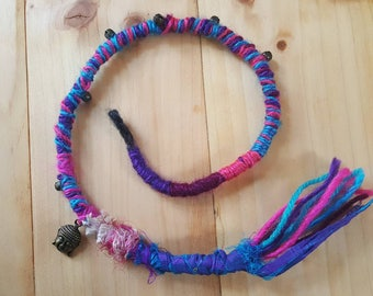 Bright colourful hair wrap with bells