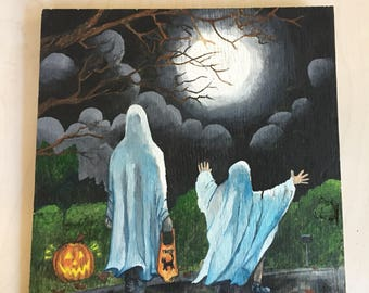 "Original Art ""Halloween Night"" Acrylic Painting on Plywood"