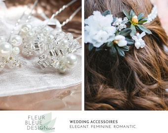 wedding hair pins | crystal hair pins | silver | white hair jewelry | silver bridal hair pins | bridal accessory | wedding hair accessory