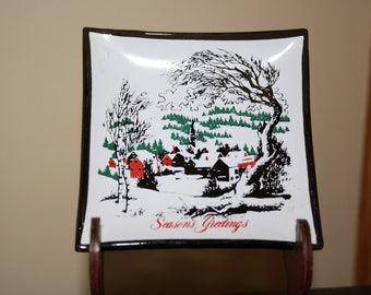 "Houze Glass Corp ""Season Greetings"" Smoked Glass Dish made in USA 1960's"