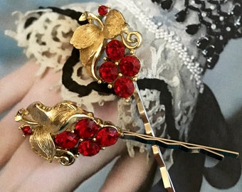 Lisner Red Grape Decorative Bridal Hair Pins  Jewelry Vintage 1950 1960 Rhinestone Cluster Leaf Hairpins Bobby Pins