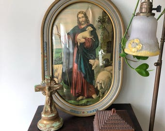 Antique Religious Jesus Our Shepard Lithograph In Ornate Oval Frame with Convex Glass
