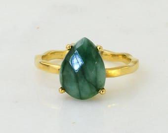 Raw Green Emerald Ring - May Birthstone Ring - Stackable Ring - Gemstone Ring - Stacking Ring - Gold Ring - Tear Drop Ring - Prong Set Ring