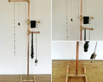 Jewellery Gift Idea | Copper pipe stand | industrial long necklace organiser | Gift Idea | Brass Gold | Gift for her | Gift for Mum