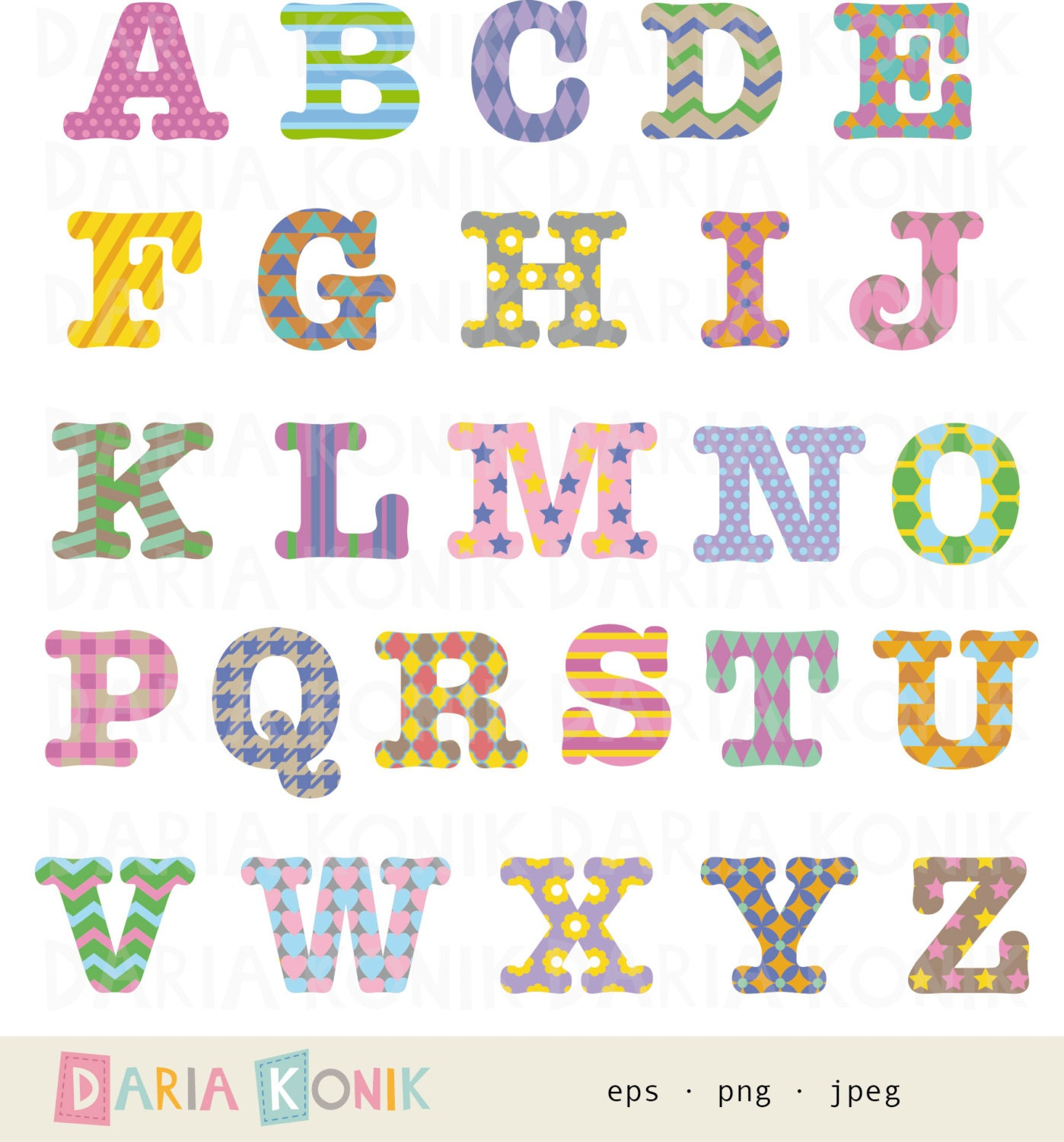 Patterned Alphabet Clip Art Set A Z Uppercase Letters