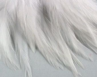 50 Natural White Feathers Saddle craft feathers wedding feathers