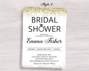 Gold Confetti Bridal Shower Invitation, Gold Glitter Bridal Shower Invite, Custom Bridal Shower Invites, Bridal Brunch invite