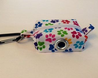 Waste Bag Dispenser, Leash Bag, Dog Poop Bag Holder, Rainbow Paw Print, Dog Gift, Gift Under 15