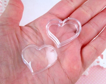 Clear Heart Boxes, Storage Containers for Beads, Etc... #DH17
