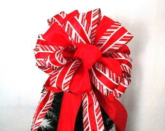 Christmas Tree Bow, Tree Topper Bow, Red Bow, Red and White Bow, Christmas Bow