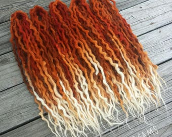 """Wool Dreads Dreadlocks """"Red Fox"""" auburn red orange white brown dreads extensions ~Choose Length and Amount~"""