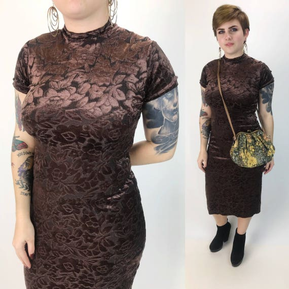 90's Vintage Floral Mock Neck Brown Floral Dress Medium - Tight Sexy Body Con Midi Dress - Ghost Floral Embossed Date Dress with back Slit