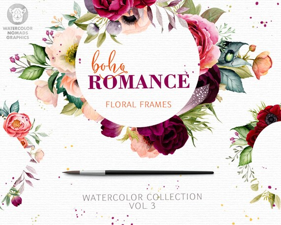 Boho Romance Vol 3 Watercolor Flowers Clipart Floral Frames