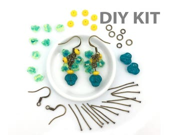 DIY Earring Kit, Jewelry Making Kit, DIY Craft, Green Flower Dangle Earring, Summer Earring, Hook Earring, Antique Bronze Earring, EP011