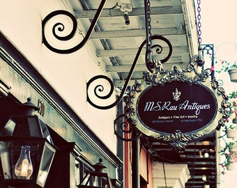 """French Quarter Royal Street Photograph. """"Antique Row"""" New Orleans Affordable Print. Antique Shop, Wrought Iron. 8x10, 11x14, 16x20, 20x24"""
