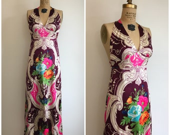 Vintage 1970s Baroque Op Art Print Halter Dress 70s Floral Maxi Gown