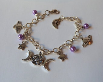 Purple Planets Stars and Moons Silver Tone Charm Bracelet