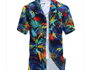 Short Sleeve Shirt Floral Polyester Flower Printed Mens Hawaiian Casual Fancy Camisas