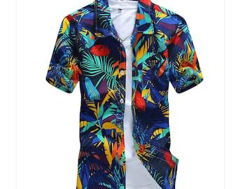 Short Sleeve Shirt Floral Polyester Flower Printed Mens Hawaiian Casual Fancy Camisas