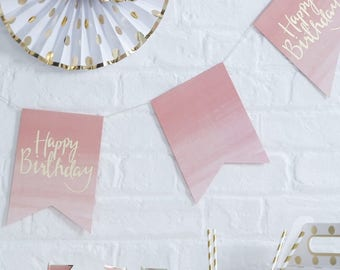 Pink and Gold Ombre Happy Birthday Bunting, Birthday Garland, Gold Birthday Bunting, Pink Bunting, Birthday Banner, Ombre Party