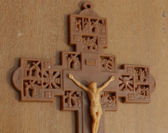 60s Six Inch Stations Of The Cross CRUCIFIX Plastic for REPURPOSE