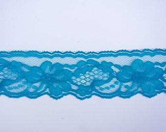Vibrant Blue  Vintage  Floral Lace Trim Destash
