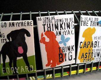 Dog Art Fridge Magnet Set from my Inspirational Dog Print Series You Choose 3