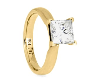 Classic Square Moissanite Solitaire, 10k Yellow Gold Engagement Ring, Simple Ring, Princess Cut Solitaire