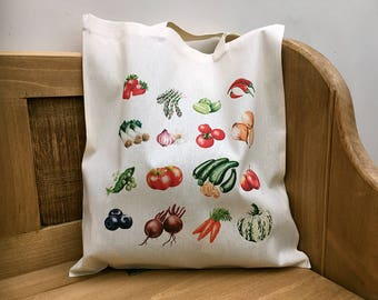 Fruit & Veg tote bag, harvest bag or farmers market bag, 100% cotton, digitally printed.