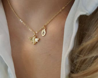 Delicate Petite Honey bee necklace,bee necklace,Layering necklace, Tiny Necklace ,Bridesmaid Gift, valued gift