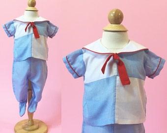 Vintage Sailor Boy Top/Pants (Size 0 to 6 Months)