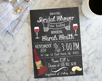 Wine Tasting Bridal Shower Chalkboard Bridal Shower Invite,  Wine Bottle Invite,Chalkboard Bridal Shower Invite, Digital File, Shower Invite