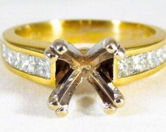 Exquisite 14k Gold and Diamond Designer Engagement Ring Setting