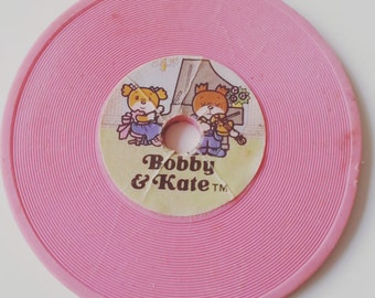 Vintage, 80s, 1980s, Bobby & Kate, eraser, Ribbon, Japan , rubber, gommi, gommini, 1981, PINK, record eraser, by NewellsJewels on etsy
