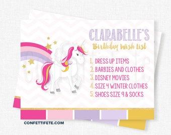 Unicorn Birthday Wish List Inserts, Birthday Gift List Cards, Invitation Wish List Inserts Printable