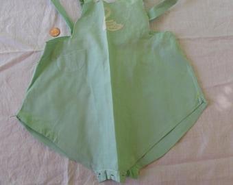 Boys Light Green Vintage Romper Sunsuit w Swan Handmade Madeira Spain