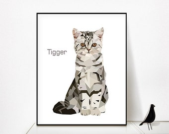 2 in 1 = 2 portraits in one _ pet portrait print, custom pet portrait, Custom cat print, Custom pet poster, Cat poster, Pet poster