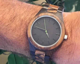 Personalized Wood Watch, Groomsman Gift, Mens Watch, Gifts for Men, Christmas, Engraved Watch, Gifts for Dad, Father of the Bride- Green