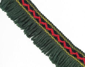 Fringe Tribal Boho Aztec Trim Ribbon , Red Green Knitted Decorative Trim