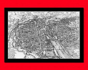Old Map of Plan De La Ville Citte Vniversite Old map Art Reproduction Home Design Vintage Retro Map Reproduction Vintage Map Reproduction