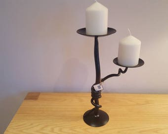 Tangled branch wrought iron candleholder